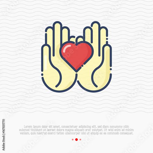 Two Hands Holding Heart Thin Line Icon Vector Illustration For Logo