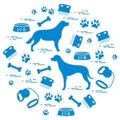 Cute vector illustration goods to care for dogs arranged in a circle.  Health care, vet, nutrition, exhibition.