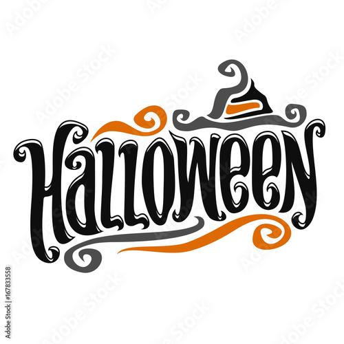 vector poster for halloween decorative handwritten font for word