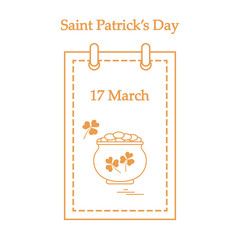 Cute vector illustration: calendar with a pot full of gold coins and clover for St. Patrick's Day.
