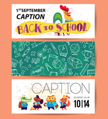 Vector collection of cartoon back to school cards with cute animal students