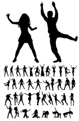 Vector, isolated silhouette people dancing, collection, set, dancing