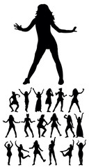 Vector, isolated silhouette people dancing, collection, set