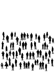 people stand silhouette of a crowd of people