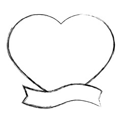 heart love card with ribbon vector illustration design
