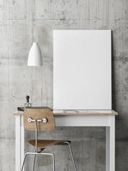 Workplace office, mock up poster above desk, 3d illustration