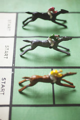 Vintage horse racing game representing Spring racing carnival