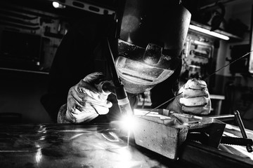 Black and white image of welder
