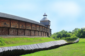 Baturyn Citadel with protective ditch. Ancient Slavonic architecture of fortress