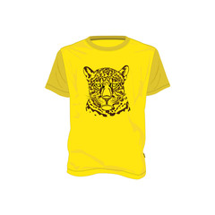 Vector illustration of a jaguar head in one color. T-shirt design