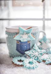 Weihnachten Tasse mit Keksen