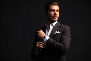 Elegant young handsome man. Studio fashion portrait