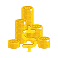 Bunch gold dollars isolated cartoon. Bunches of gold dollars and dollar signs for designers and illustrators. Gold stacks of pieces in the form of a vector illustration