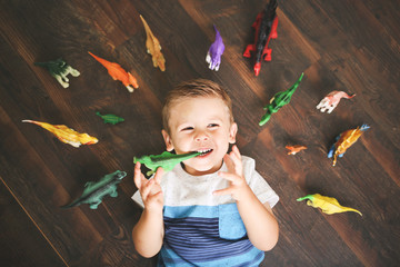 Little boy playing at home with dinosaur toy figures