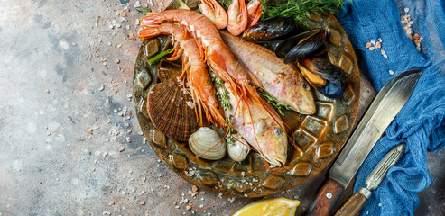 Fresh seafood on ceramic plate
