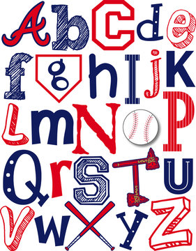 Red White and Blue Baseball Alphabet Atlanta Braves Theme