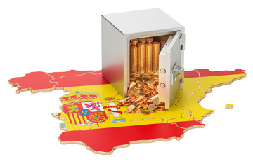 Safe box with golden coins on the map of Spain, 3D rendering