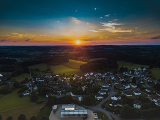 Aerial view of Marienheide - Kalsbach at sunset