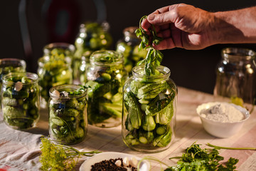 The process of preparation of salty cucumbers for canning, Ukraine