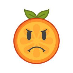 Angry face emoji. Angry orange fruit emoji. Vector flat design emoticon icon isolated on white background.