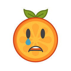 Tears crying emoji. Crying orange fruit emoji with tears. Vector flat design emoticon icon isolated on white background.