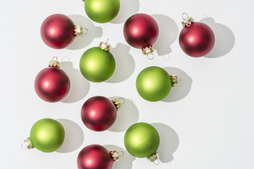 Festive Red and Green Glass Christmas Ornaments