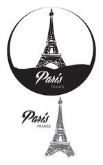 TOURISTIC LABEL PARIS FRANCE lettering illustration