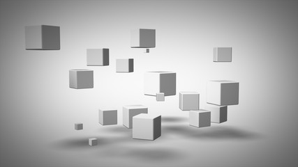 Abstract geometric shapes from cubes in rotation 3d illustration