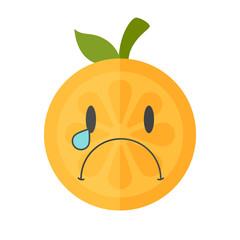 Tears crying emoji. Crying orange fruit emoji with tears. Vector flat design emoticon icon isolated on white background.