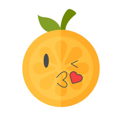Kiss emoji. Kissing orange fruit emoji with heart. Vector flat design emoticon icon isolated on white background.
