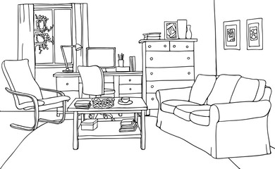 Vector illustration of modern living room with furniture: table, sofa, armchair, desk with computer, window, pots, carpet. Black and white contour drawing.