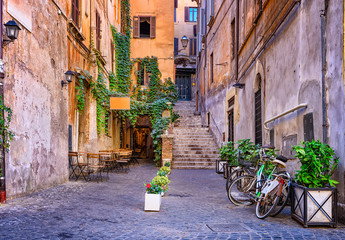 View of old cozy street in Rome, Italy