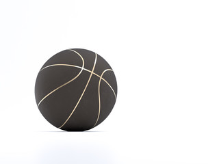Black metalic Basketball close-up on bright studio background
