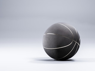 Black metalic Basketball close-up on studio background