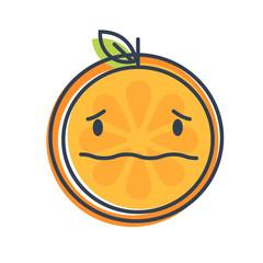Worry emoji. Worrying orange fruit emoji with drop of sweat. Vector flat design emoticon icon isolated on white background.