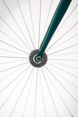 Studio shot of a  bicycle spokes and hub