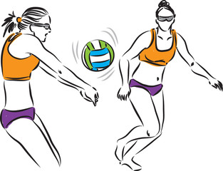 volley ball women players illustration