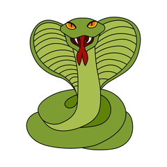 Flat simple cobra isolated on white background. Green color outline icon of aggressive animal in the cartoon style. Vector cobra illustration. Green snake image in a simple style.