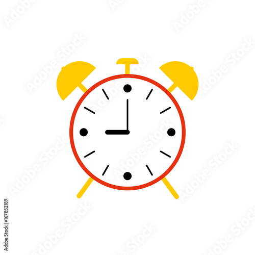 Flat Simple Alarm Clock Isolated On White Background Red Color