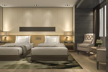3d rendering luxury modern bedroom suite in hotel and resort