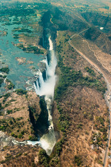 Victoria Falls in Zimbabe at drought