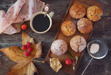 Autumn mood: apple muffins and coffee