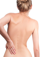Woman from the back, backache, pain concept