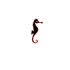 Graphics silhouette icon of sea horse