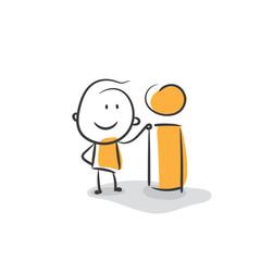 Help information or application help line art icon for apps and websites. Stick man information icon. Strichfiguren / Strichmännchen: Information, Auskunft. (Nr. 4)