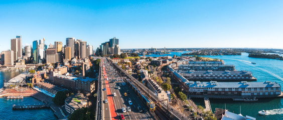 Panoramic View from Sydney Harbour Bridge of the Western Distributor Fwy with the Rocks and Central Business District on the left and Walsh Bay on the right.