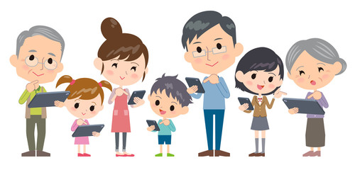 family three generations internet communication smartphone tablet wide