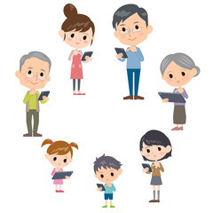 family three generations internet communication smartphone tablet round
