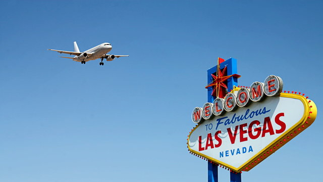 Welcome to Fabulous Las Vegas Sign with Arriving Airplane