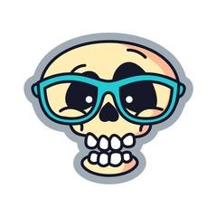 Geek Skull Cartoon Logo Vector Illustration